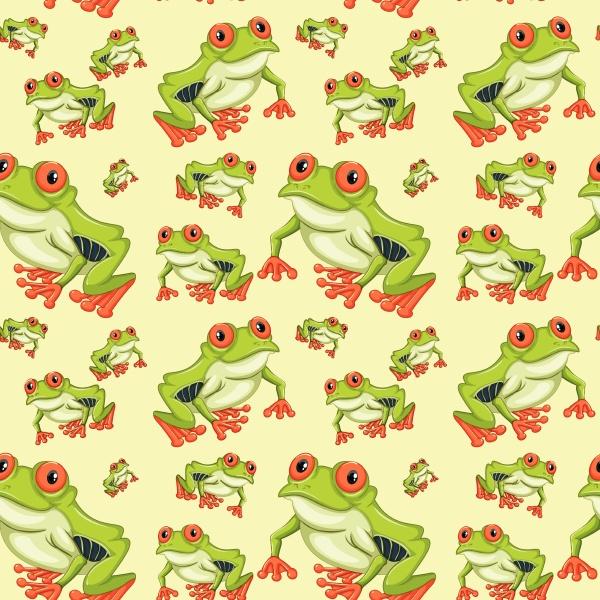 red eyed tree frog seamless pattern