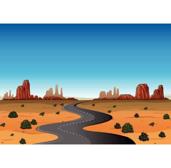 desert scene with empty road