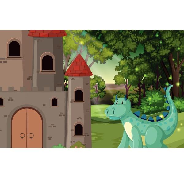 dragon at the castle scene