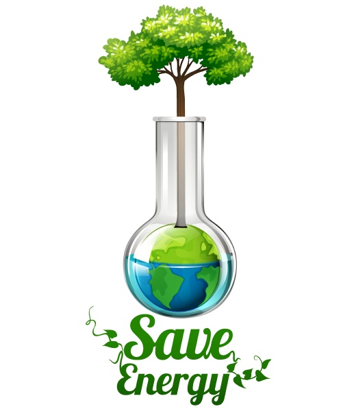 save energy sign with tree in