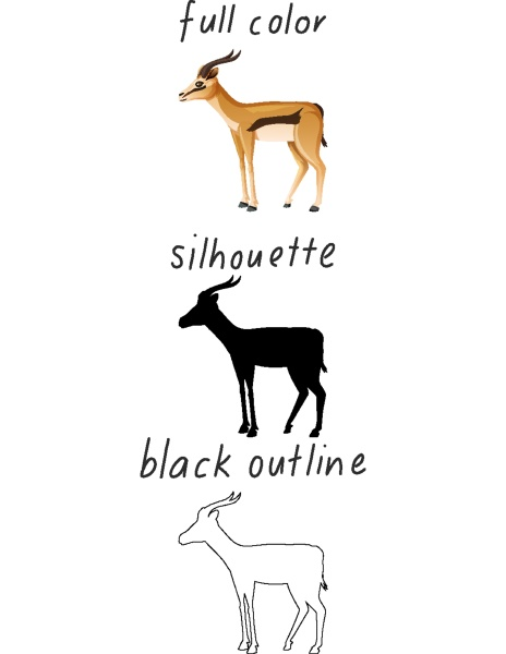 set of impala in color silhouette