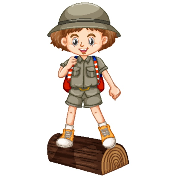 girl in safari outfit standing on
