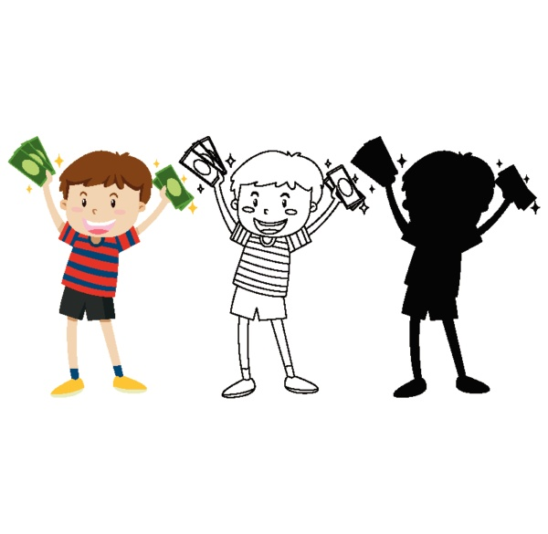 boy holding banknotes in color and