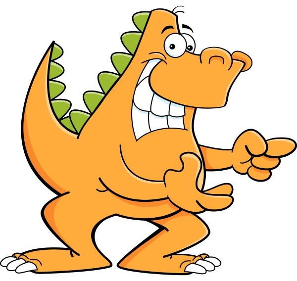 cartoon illustration of a dinosaur pointing