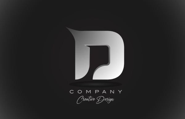 d white gradient alphabet letter logo