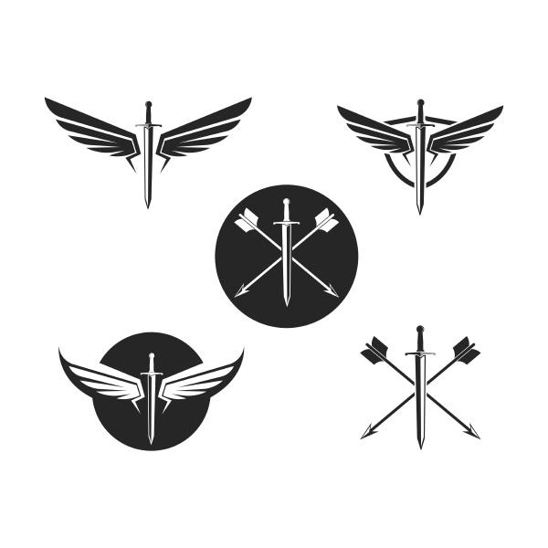 sword wings logo icon vector