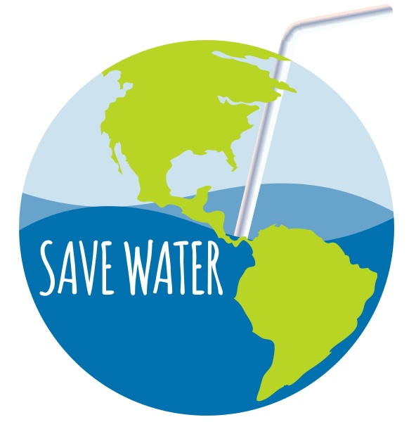 save water theme with straw