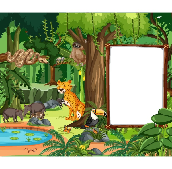 forest scene with empty banner and