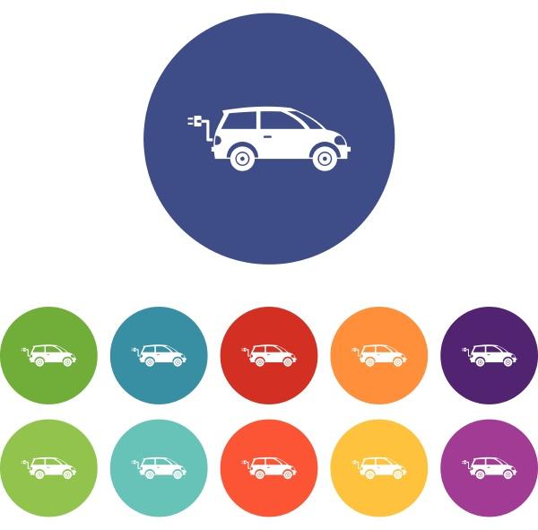 electric car set icons