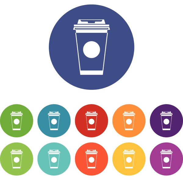 paper coffee cup set icons