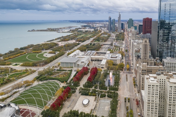 aerial view of jay pritzker pavillon