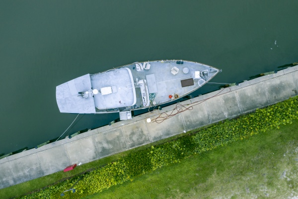 aerial view of a motorboat anchored