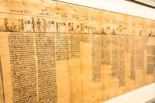 ancient egyptian papyrus with hieroglyphic