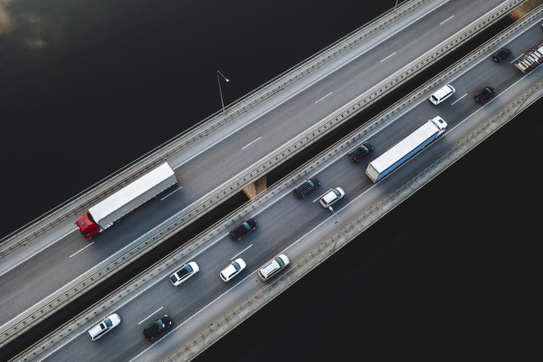 aerial view of traffic vehicles driving