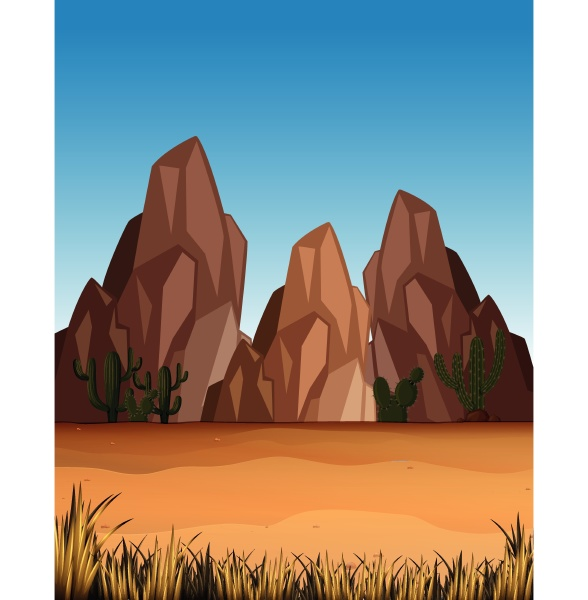 desert scene with mountains and field