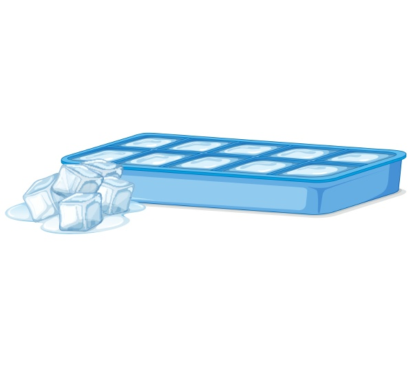ice tray with ice and melting