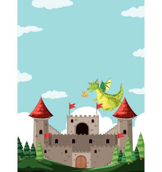 dragon in castle scene