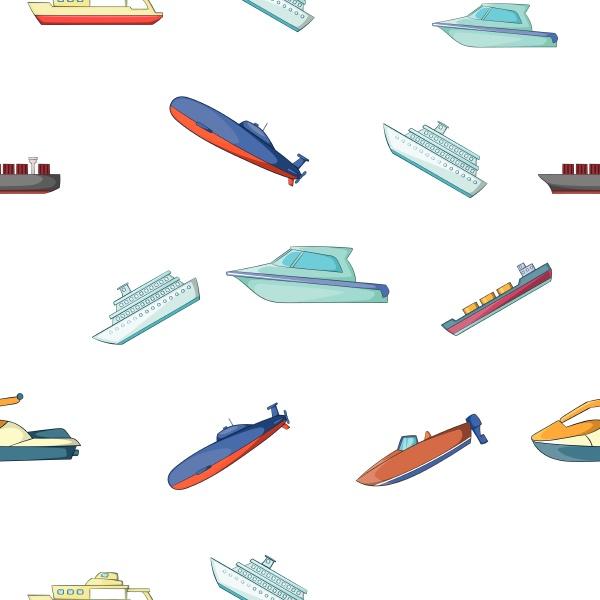maritime transport pattern cartoon style
