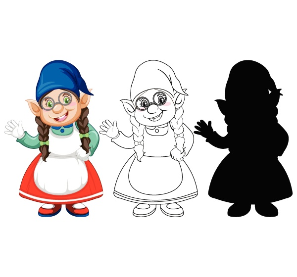 gnome in color and outline and
