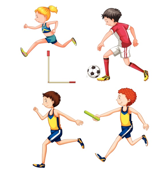 set of different sporting people