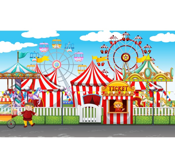 carnival with many rides and shops