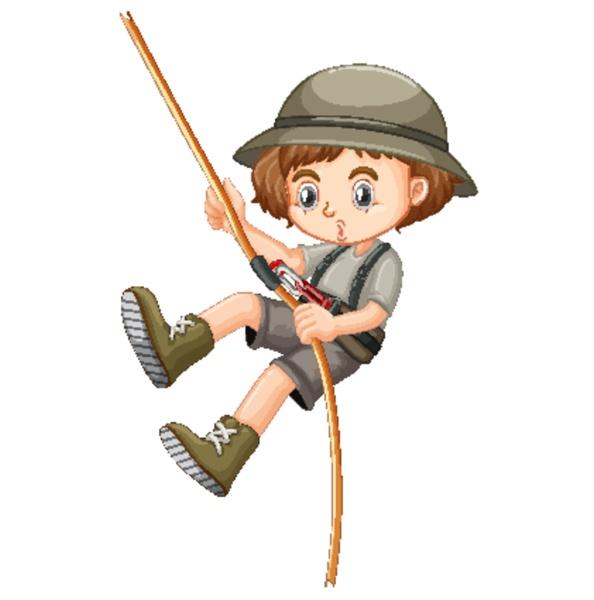 girl in safari outfit climbing rope