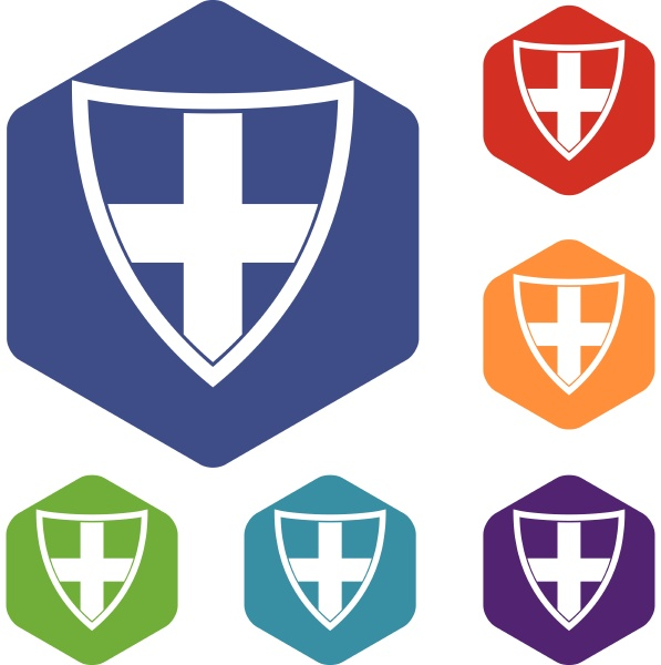shield for protection icons set
