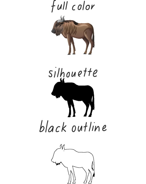 set of bull in color silhouette