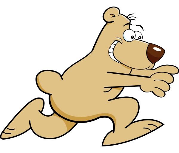 cartoon illustration of a bear running