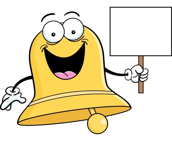 cartoon illustration of a bell holding