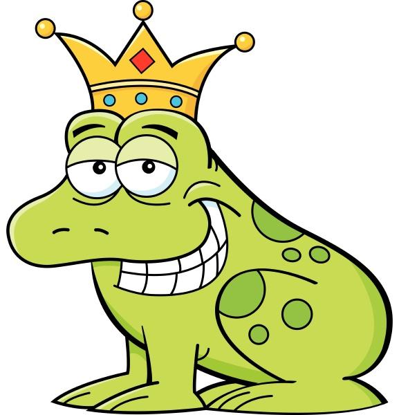 cartoon illustration of a frog wearing