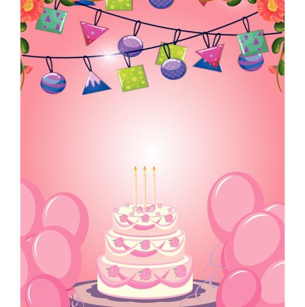 cake on pink birthday card