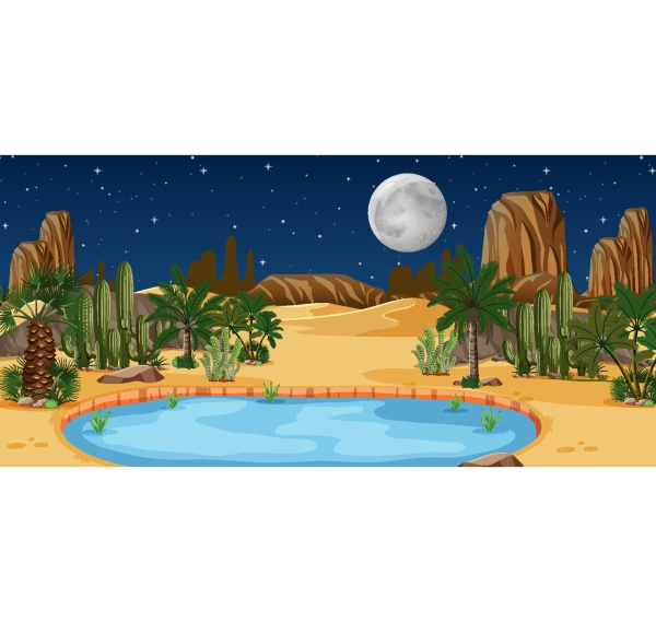 desert oasis with palms and catus