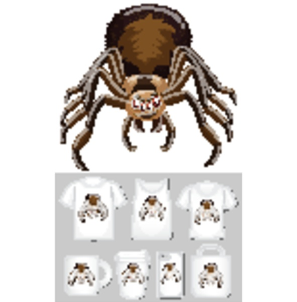 graphic of spider on different product