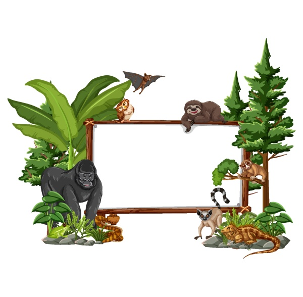empty banner with wild animals and