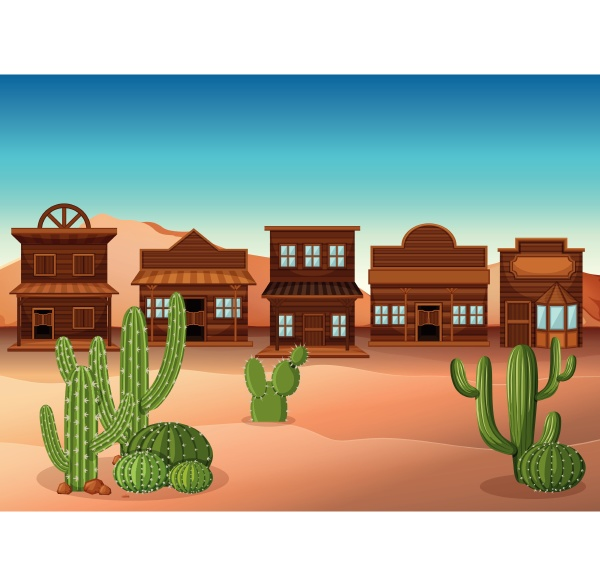 scene with shops and cactus in