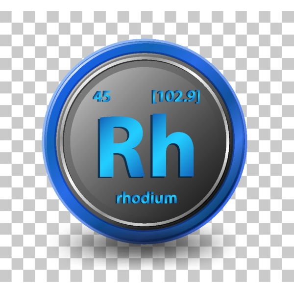rhodium chemical element chemical symbol with