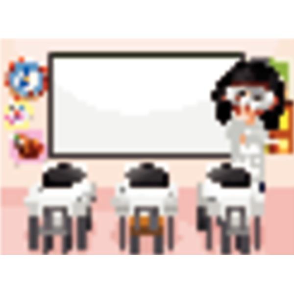classroom scene with science teacher inside