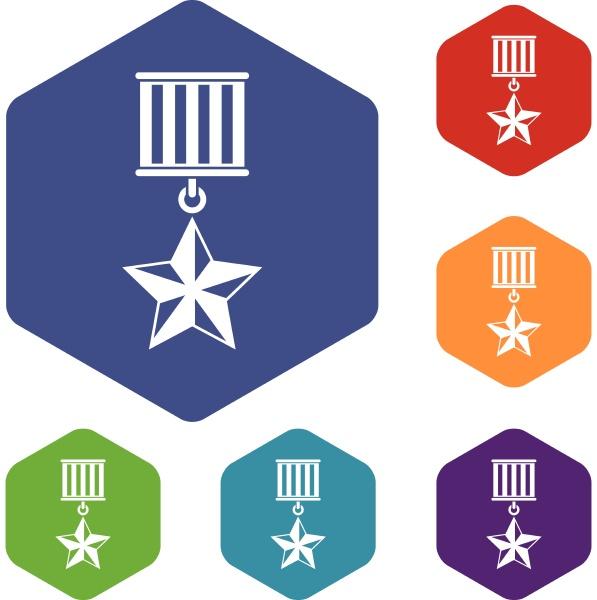 medal star icons set