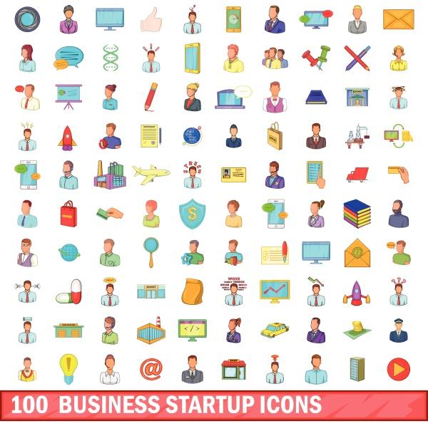 100 business startup icons set cartoon