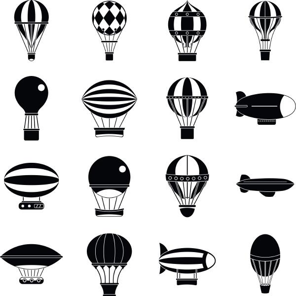 retro balloons aircraft icons set simple
