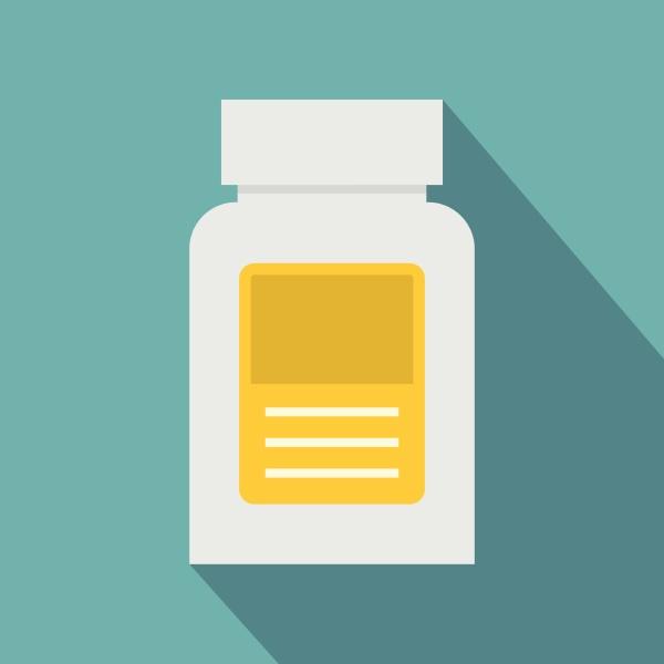 pharmaceuticals bottle icon flat style