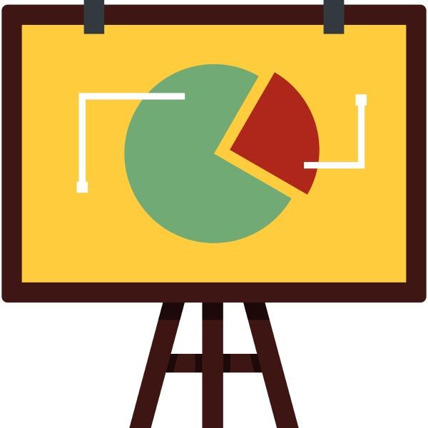 flip chart with statistics icon