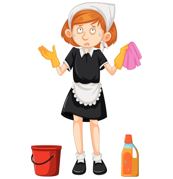 female cleaner with cleaning equipments