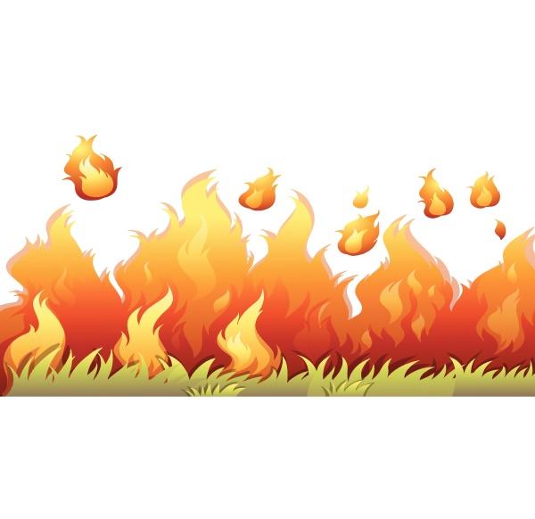 a bushfire flame on white background