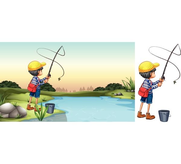 scene of fisherman in river