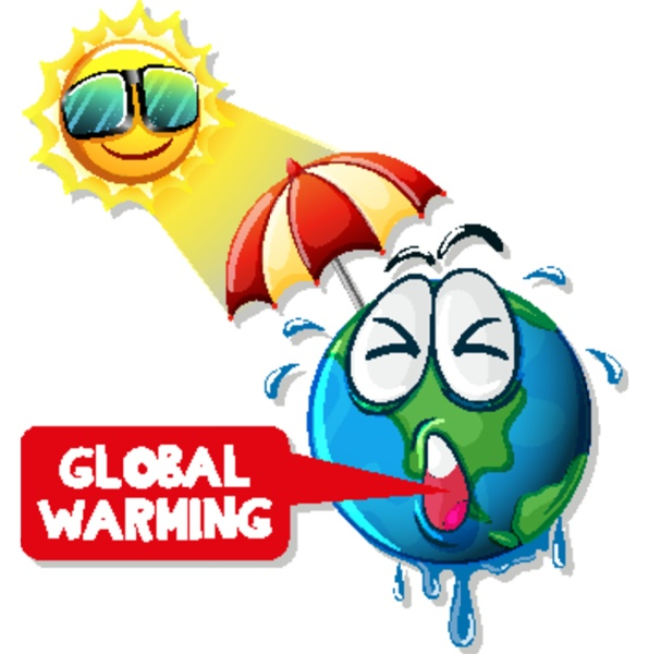 global warming with hot sun and