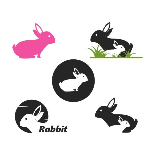rabbit logo template vector icon illustration