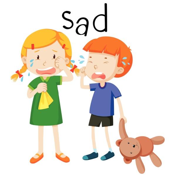 two child sad emotion