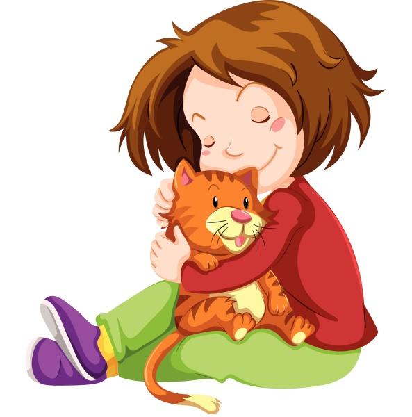 little girl hugging pet kitten